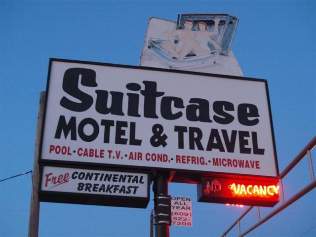 The Sign for the Suitcase Motel in Wildwood NJ